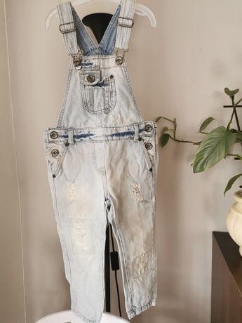 Jeansowe ogrodniczki Next 98 jasny jeans 100% bawełna