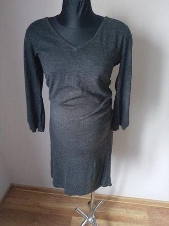 Szara sweterkowa sukienka ciążowa