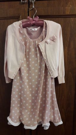 Платье нарядное розовое в горох с подкладкой  и кофточка+ подарок