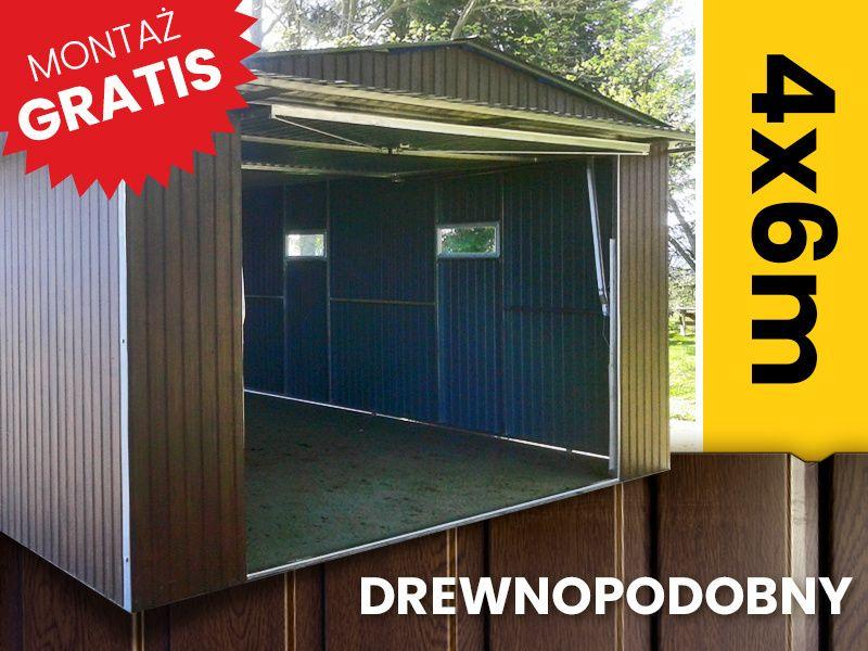 Garaże blaszane drewnopodobne garaż blaszak dwuspadowy mocny profil Starogard Gdański - image 1