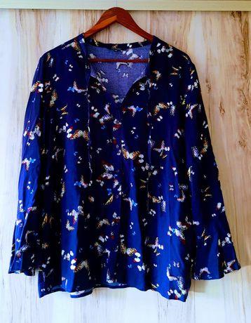Granatowa bluzka w motyle z szerokimi rękawami Top Secret