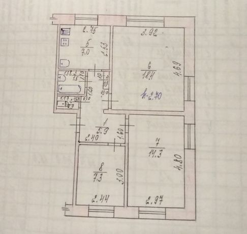 3-х комнатная квартира в центре Васильковки 56 м.кв.