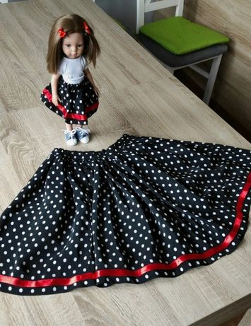 Spódniczka czarna w grochy dla lalki la lalla