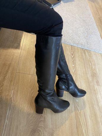 Buty kozaki 36 czarne skora