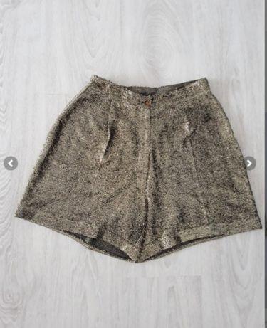 Spodenki damskie spodnie krótkie złote 36 S błyszczące połysk