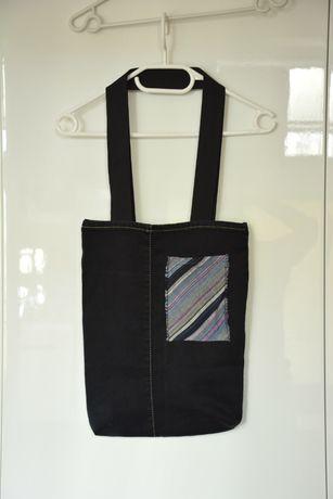 Torba dżinsowa jeansowa A4 torebka handmade diy jeans worek czarna