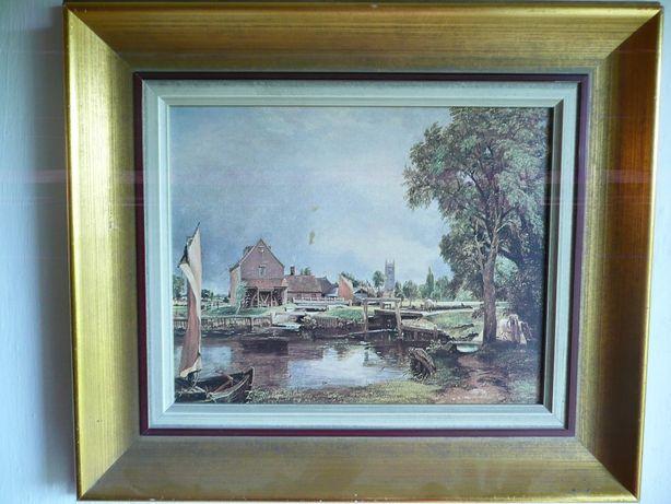pejzaż łódz zatoka młyn wioska obraz drewniana rama