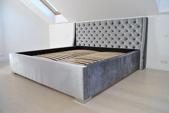 Łóżko pikowane chesterfield glamour pinezki + pojemnik + stelaż