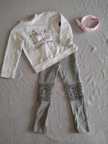 Zestaw dla dziewczynki, leginsy bluza Sinsay 104-116