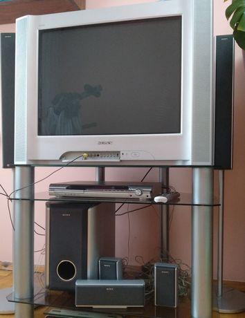 DVD домашній кінотеатр SONY, Телевізор SONY,  скляний стіл
