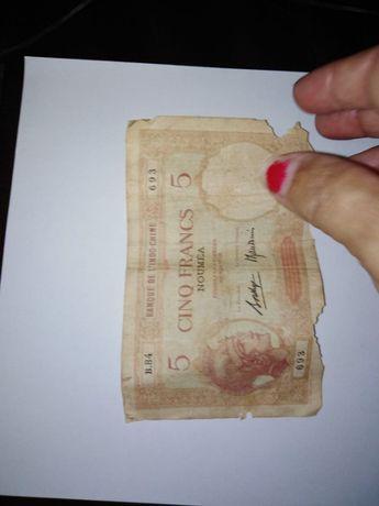 Nota 5 francos, Nova Caledónia, Nouméa (ca. 1926)