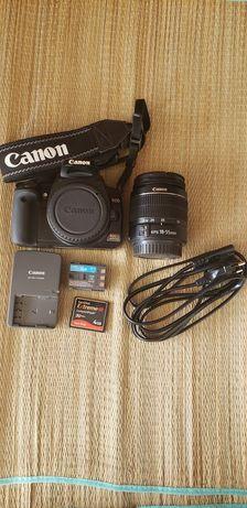 Canon 400D, lente 18-55mm e cartão de memória