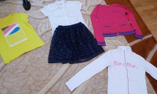 Ubrania dla dziewczynki rozmiar 158-164 spódnica, biała bluzka, bluza