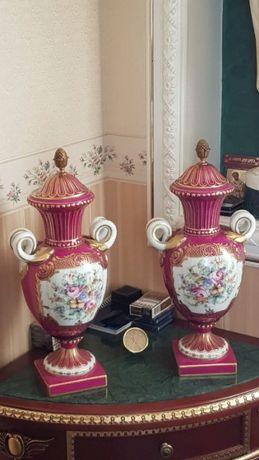 ваза фарфор, роспись золочение бронза Kalk Германия клеймо стрелы пара