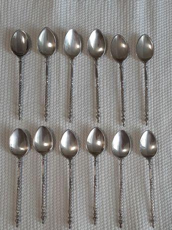 12 Colheres de chá/café de prata da Casa Leitão