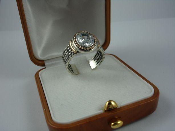Pierścionek rozmiar 17 srebro ze złotem handmade złoto srebro cyrkonia