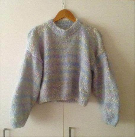 Camisola 100% lã angorá tricotada à mão