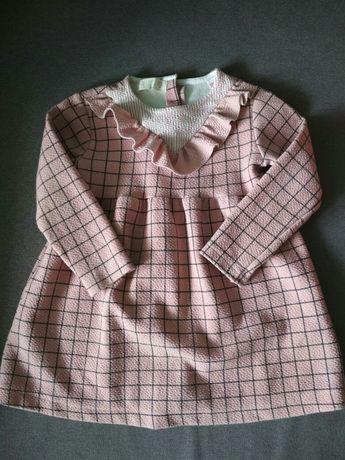 Zara Piękna sukienka w kratę z falbanką 98