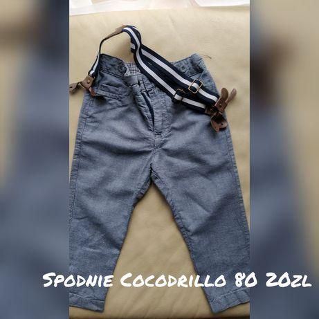 Eleganckie spodnie chłopięce cocodlillo 80 z szelkami do garnituru