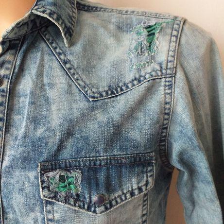 Zara man koszula jeansowa szarpana z dziurami slim fit