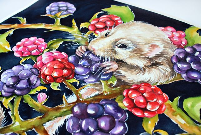 Картина акварелью. Мыщи. Малина, ягоды. Животные Интерьер Арт Живопись
