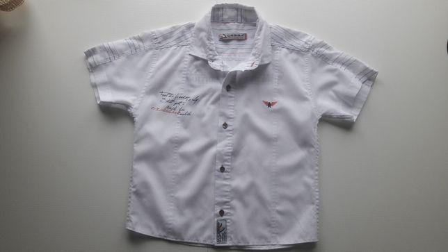 Белая рубашка шведка с коротким рукавом на 6 - 7 лет