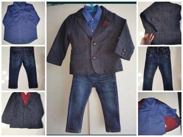 Komplet dla chłopca r 80, marynarka, koszula, jeansy next