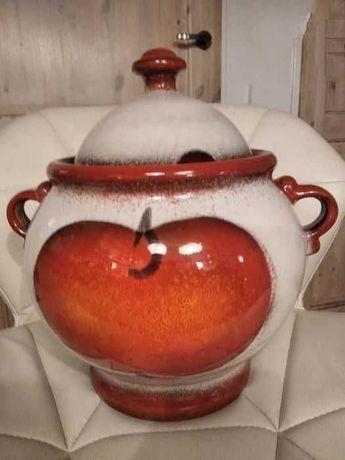 Wielka ceramiczna waza , pojemnik z przykrywką  z jabłuszkiem