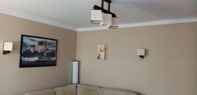 Kinkiet lampa zyrandol komplet drewniany