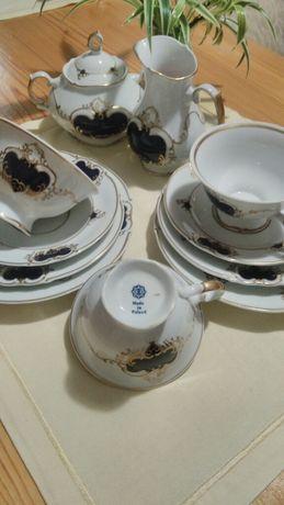 Komplet obiadowo-kawowy na 12 os.! Kobalt!Porcelana!Okazja!80elementów