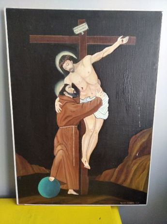 Obraz płótno olejny Jerzy Kubiak 1987r Jezus Św Antoni