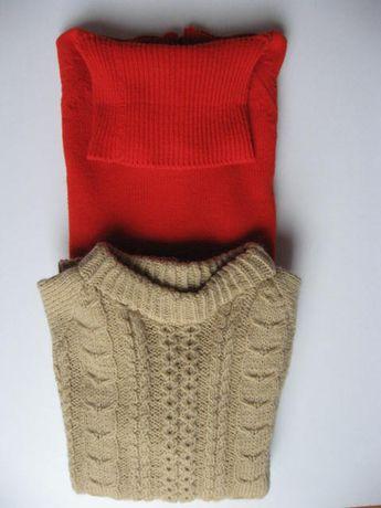 Sweter swetr czerwony golf beżowy