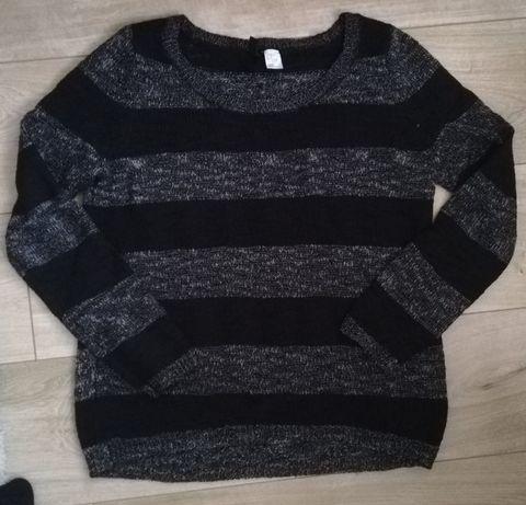 Sweter czarno -szary oversize H&M