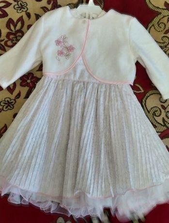 Біле святкове платтячко + болеро на 1-2 р./ Платье новогоднее + болеро