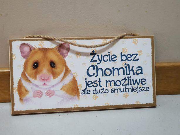 """Tabliczka drewniana """"Życie bez chomika jest możliwe..."""""""