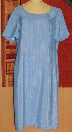sukienka wiztowa- błękitna i długi żakiet -róż pudrowy-wytłaczany wzór