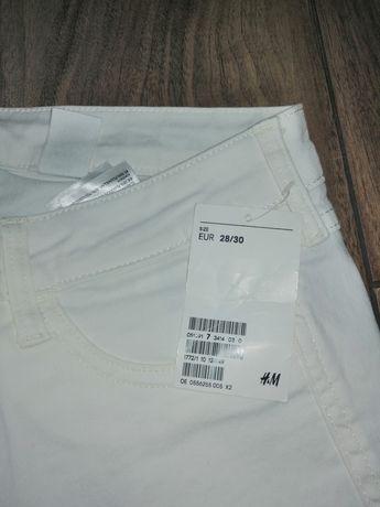 Białe spodnie rurki H&M Nowe 28/30