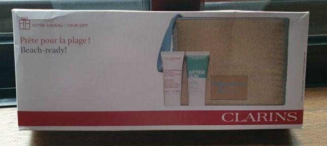 Bolsa de linho com 2 produtos da Clarins
