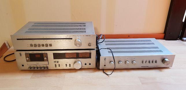 wieża vintage odtwarzacz kaset + radio+gramofon+wzmacniacz
