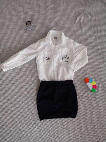 Zestaw dla dziewczynki, rozm 110-116 - bluzeczka + spódniczka