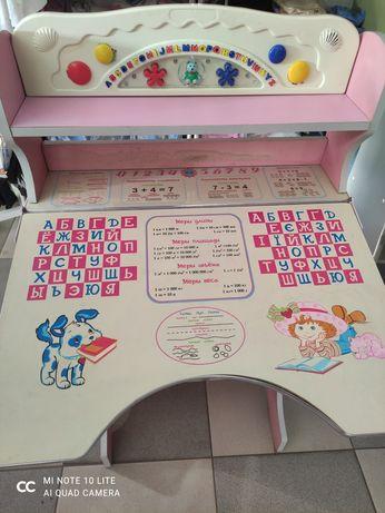 Столик для школяра дівчинки, музикальний, з англійським алфавіт