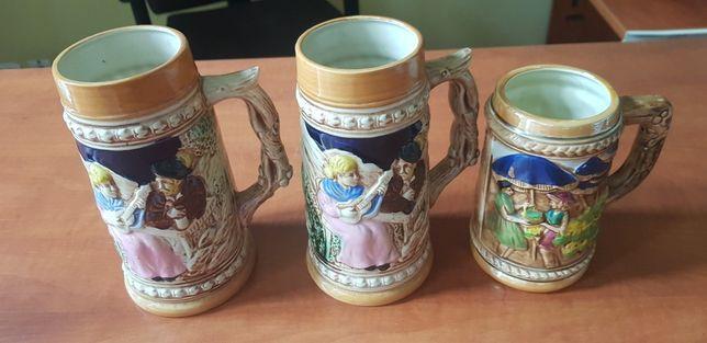 kufel porcelanow,Zestaw kufli ceramicznych, ręcznie malowane. 3 szt.