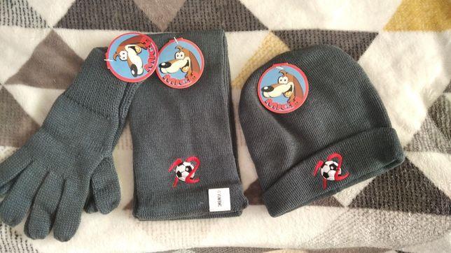 Nowy Zestaw zimowy dla dziecka czapka szalik i rękawiczki