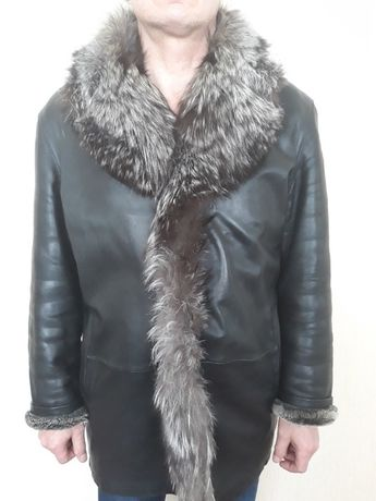 Куртка мужская кожаная на натуральном меху, меховая куртка мужская