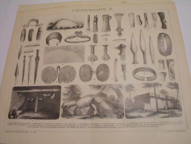 ARCHEOLOGIA, MILITARIA, SZTUKA oryginalne XIX w. grafiki do wystroju