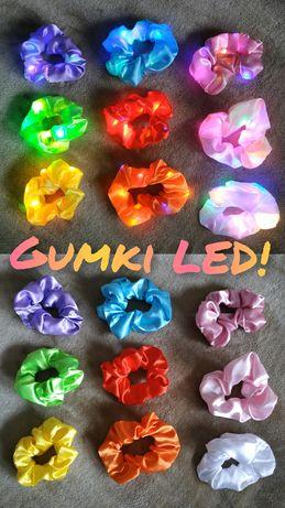 Gumki LED Scrunchies NOWE, do włosów, bransoletka, 9 kolorów ZESTAW