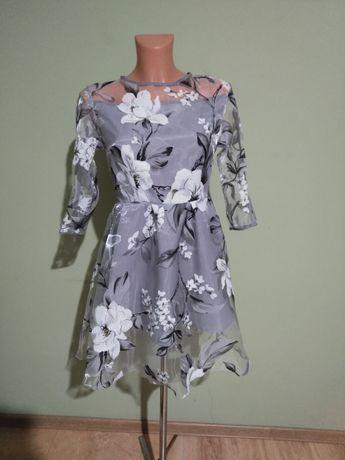 Sukienka krótka siwa kwiaty