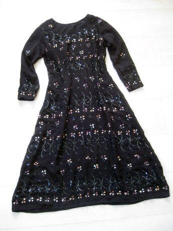 Нарядное вечернее красивое платье чёрное расшитое бисером пайетками XS