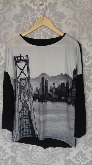 Tunika, bluzka, czarna, miasto, new york