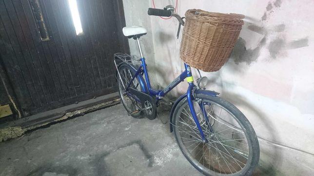 Rower damka sprawny z licznikiem dynamem koszem